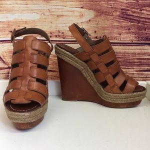 Christian Louboutin Tan Leather Espadrille Wedges
